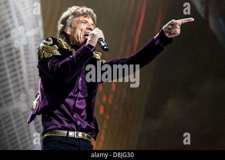Mick Jagger, lead singer of The Rolling Stones performs during their '50 and Counting' tour in Toronto, Ontario, - Stock Photo
