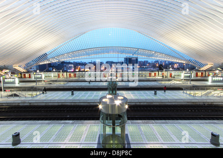 Guillemin train station at night in Liebe, Belgium. The architect is Calatrava Santiago. - Stock Photo