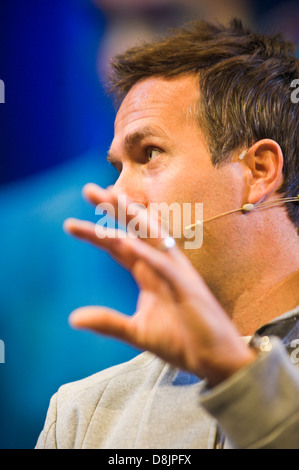 Michael Vaughan batsman and former England Cricket Test captain speaking at Hay Festival 2013 Hay on Wye Powys Wales - Stock Photo