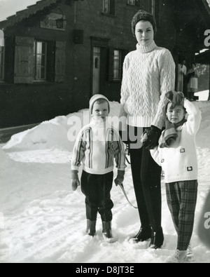 PRINCESS GRACE OF MONACO in Switzerland about  1969 with Prince Albert at left and Princess Caroline - Stock Photo