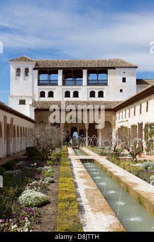 Patio de la Acequia, Generalife, The Alhambra, Granada, Spain - Stock Photo