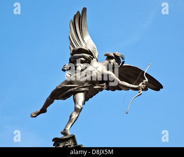 Statue Of Eros Piccadilly Circus London UK - Stock Photo