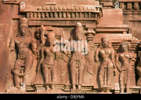 Asia, India, Karnataka, Hampi, Underground Shiva Temple, stone carving - Stock Photo