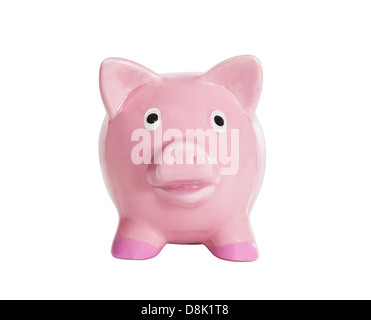 Old piggy bank isolated on white with clipping path. - Stock Photo