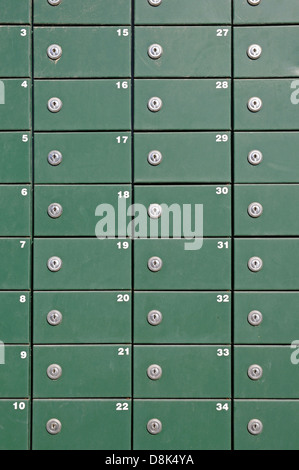 green mailboxes - Stock Photo