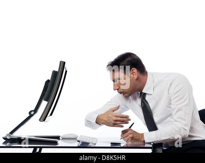 relationship between a caucasian man and a computer display monitor on isolated white background expressing spy - Stock Photo