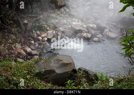 Fumaroles, boiling water and steam, Rincon de la Vieja National Park, Costa Rica - Stock Photo
