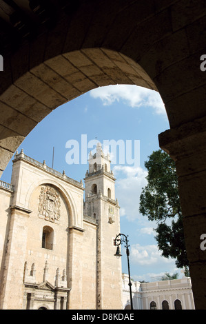 The 16th century cathedral or Catedral de Ildefonso on Plaza Grande in Merida, Yucatan, Mexico - Stock Photo
