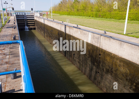 A canal going from the sea to the reclaimed polder land in Holland, north of Amsterdam, which is some 20 feet lower - Stock Photo