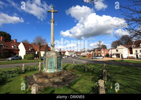 The village green, Cavendish village, Suffolk County, England, Britain. - Stock Photo