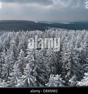 View from observation tower Rennsteigwarte on the Eselsberg mountain, Masserberg, Hildburghausen District, Thuringia, - Stock Photo
