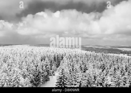View from observation tower Rennsteigwarte on the Eselsberg mountain, Masserberg, Hildburghausen District, Thuringia, - Stock Photo