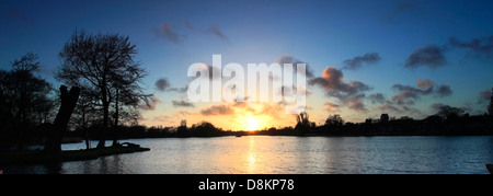 Sunset over the Mere at Thorpeness village, Suffolk County, England - Stock Photo