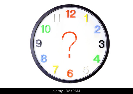 Clock with Question Mark - Stock Photo