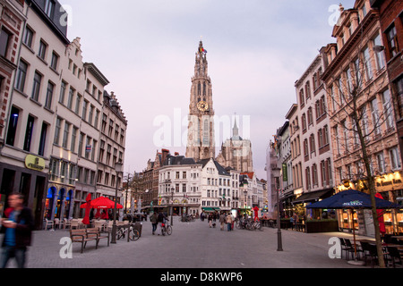 A singular view of Cathedral Of Our Lady at dusk in Antwerp - Stock Photo