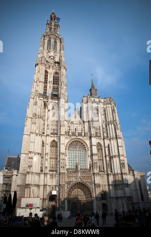 Tourists in front of Cathedral Of Our Lady - Stock Photo