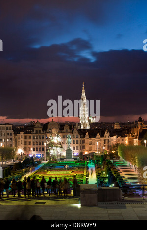 Cityscape of Brussels from Monts des Arts at dusk - Stock Photo