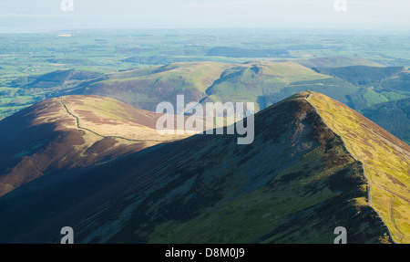 Looking towards Ladyside Pike from the summit of Hopegill Head at sunrise in the Lake District
