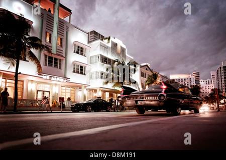 Vintage car, Ocean Drive, Miami South Beach, Florida, USA - Stock Photo