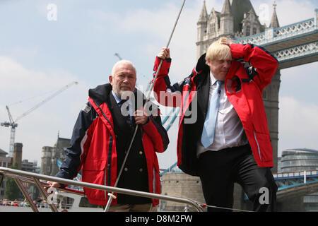 London, UK. 31st May 2013. London Mayor, Boris Johnson and sailing legend Sir Robin Knox-Johnston, announce the - Stock Photo