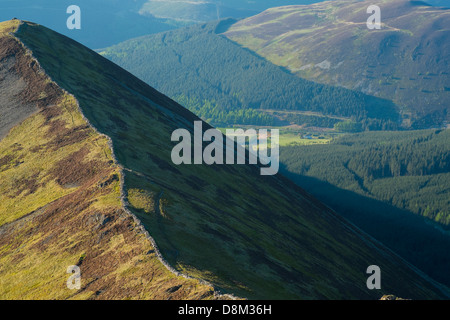 Looking towards Ladyside Pike from the summit of Hopegill Head at sunset in the Lake District - Stock Photo