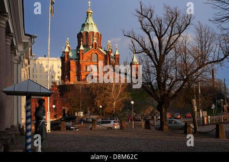 Helsinki. Uspenski Cathedral (Finnish, Uspenskin katedraali, Swedish, Uspenskij-katedralen, Russian, ????????? ?????, - Stock Photo