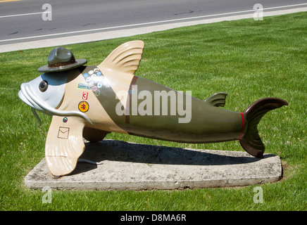 Fish Statue at the Boy Scout Headquarters in Nashville Tennessee - Stock Photo