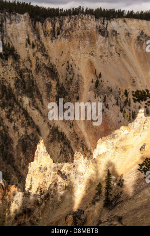 Sunlight illuminates a rock outcrop along the Grand Canyon of the Yellowstone, in Yellowstone National Park. - Stock Photo