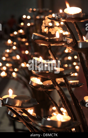 Tea lights on an iron chandelier in the Cathedral of Santa Maria ...