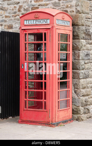 red telphone box, weathered, recycled,period,old type, - Stock Photo