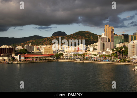 a view of Port Louis harbour, in the capital of Mauritius - Stock Photo