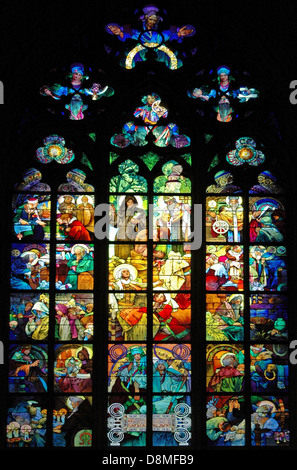 Art Nouveau stained glass decoration by Alfons also Alphonse Mucha in the Roman Catholic Metropolitan Cathedral - Stock Photo