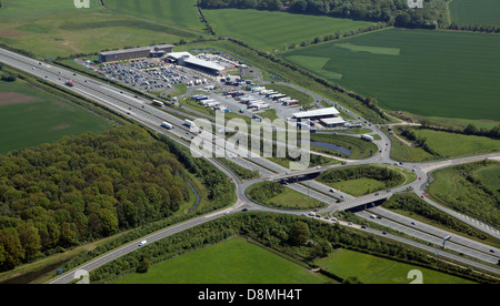 aerial view of Wetherby motorway services on the A1M - Stock Photo
