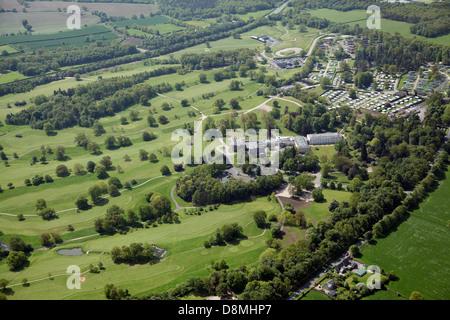 aerial view of Rudding Park near Harrogate, North Yorkshire - Stock Photo