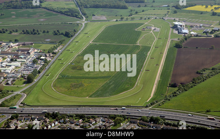 aerial view of Wetherby Racecourse in West Yorkshire - Stock Photo