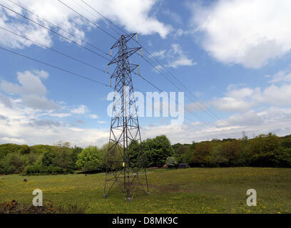 Swansea, south Wales, UK. Wed 29 May 2013  Pictured: Electricity pylons in the Blaenymaes area of Swansea, Howells - Stock Photo