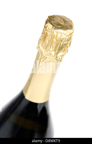 Champagne bottle isolated on white - Stock Photo