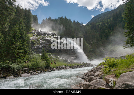 The lower waterfall at Krimml Falls, the highest waterfalls in Austria and Central Europe, Krimml, Salzburg, Austria. - Stock Photo