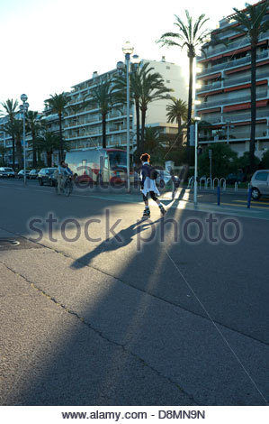 Roller skater on the Promenade des Anglais in Nice, southern France. - Stock Photo