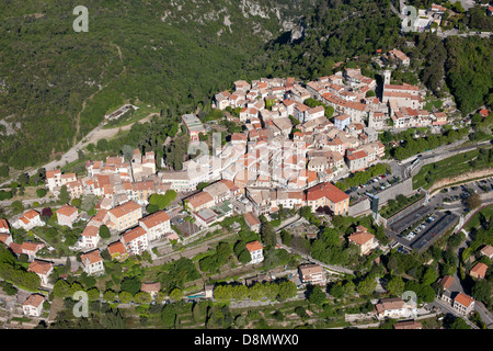 PERCHED MEDIEVAL VILLAGE (aerial view). Levens, French Riviera, France. - Stock Photo