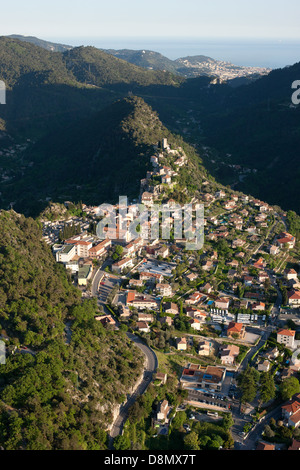 PERCHED MEDIEVAL VILLAGE (aerial view). Village of Tourrette-Levens, city of Nice and the Mediterranean Sea in the - Stock Photo