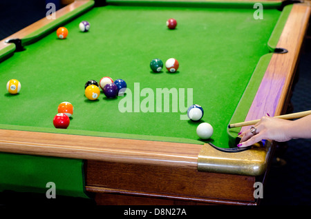 A Hand Of A Woman Player On A Pool Table Plays Pool Game Pocket - Play pool table near me