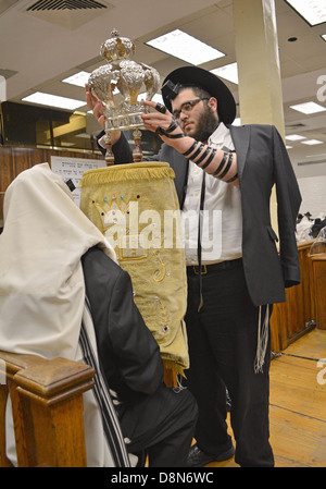 Men wearing a prayer shawl & phylacteries with a Torah during weekday morning services at Lubavitch  headquarters - Stock Photo