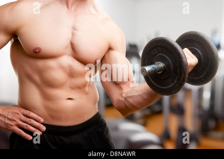 Personal Trainer doing standing dumbbell curls for training his biceps, in a gym - Stock Photo