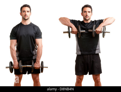 Personal Trainer doing dumbbell upright row for training his deltoids, isolated in white - Stock Photo