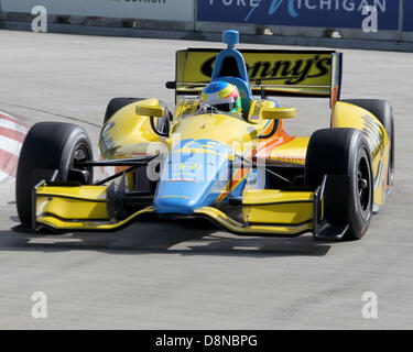 Detroit, Michigan, USA. 1st June 2013. Mike Conway (18) on the course during qualifying at the Raceway at Belle - Stock Photo