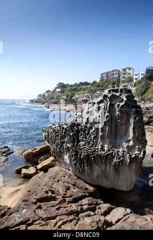 A view of a rock on the cliff walk near Bondi Beach in Sydney, Australia - Stock Photo
