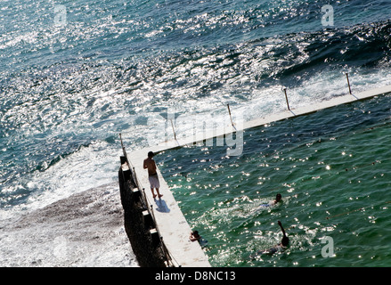 A view of the pool at the Bondi Surf Bathers' Life Saving Club in Sydney, Australia - Stock Photo