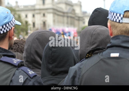 Parliament, London, UK.  1st June 2013. Hooded protesters opposing  the BNP rally near Parliament. The BNP attempt - Stock Photo