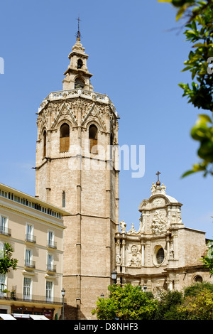 Plaza de la Reina and tower of the Cathedral, Valencia, Spain - Stock Photo